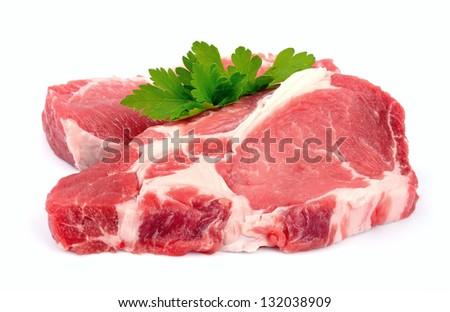 Crude meat on a white backgrounds - stock photo