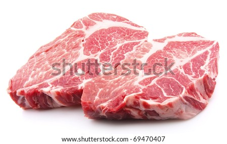Crude meat on a white backgrounds