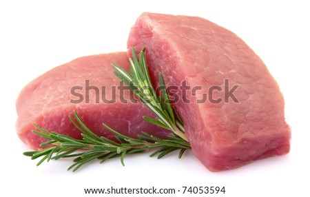 Crude meat with rosemary on a white background - stock photo