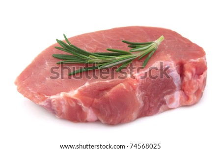 Crude meat with rosemary on a white background