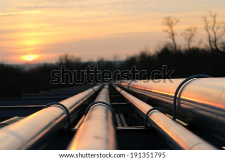 crude oil pipeline transportation way  on african continent - stock photo