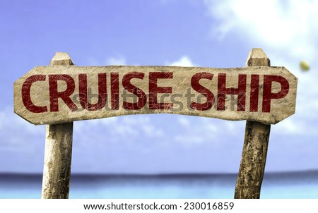 Cruise Chip sign with a ocean on background - stock photo