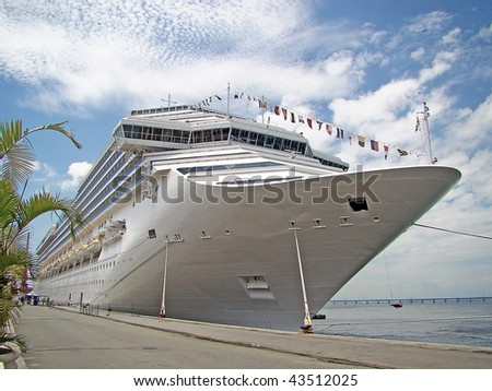 cruise line ship at harbor - stock photo