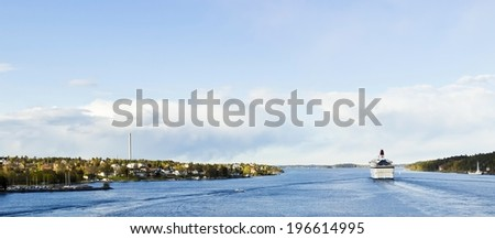 Cruise liner in Baltic sea, Scandinavia - stock photo