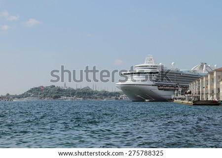 Cruise liner in gulf Gold Horn. Istanbul, Turkey