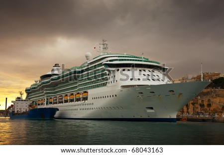 cruise liner  in the port of Valletta, Malta - stock photo