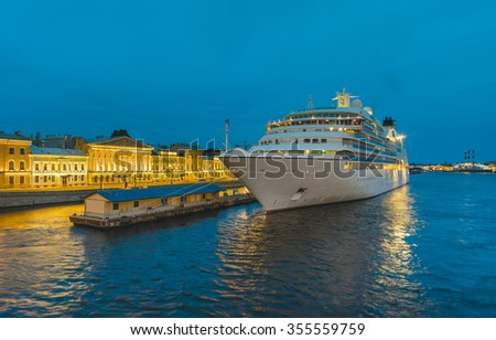Cruise liner moored at the pier at English Embankment. The White Nights in St.-Petersburg, Russia - stock photo