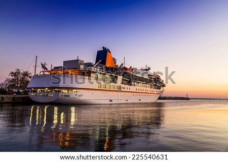 Cruise liner on the harbor - stock photo