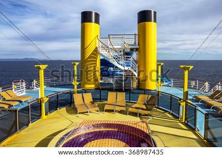 Cruise liner open deck, Costa Mediterranea. - stock photo