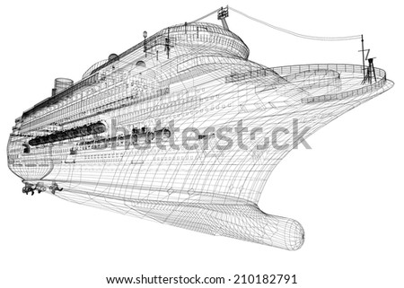 cruise liner, ship,  body structure, wire model - stock photo