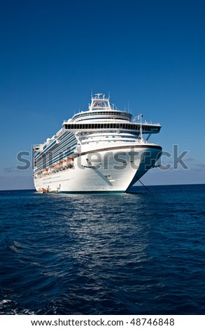 Cruise Ship Anchored in Caribbean Sea - stock photo