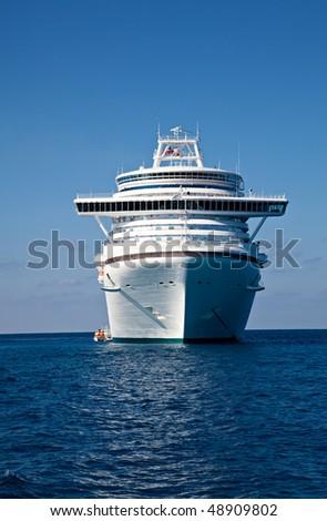 Cruise Ship Anchored in Caribbean Sea - stock photo