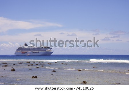 Cruise Ship anchored in front of Rarotonga - Cook Islands, Polynesia, Oceania