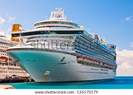 Cruise ship anchored in Philipsburg, St. Maarten - stock photo