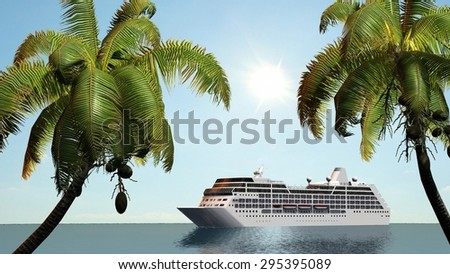 Cruise ship and palm trees