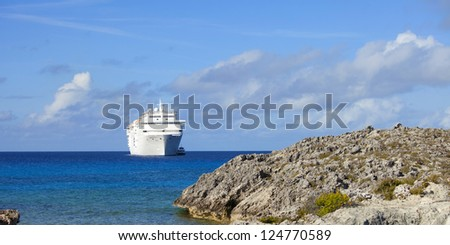 cruise ship and tender off the bahamas
