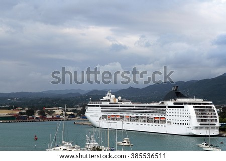 Cruise ship at a harbour dock in Jamaica
