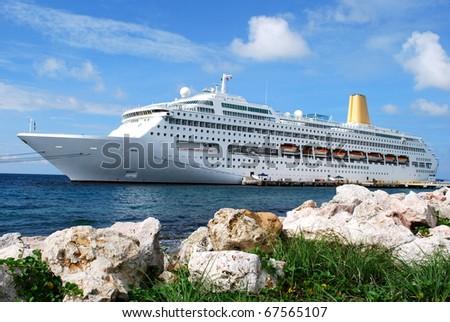 Cruise Ship at Curacao - stock photo