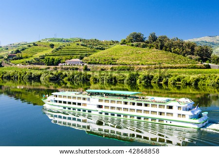 cruise ship at Peso da Regua, Douro Valley, Portugal - stock photo