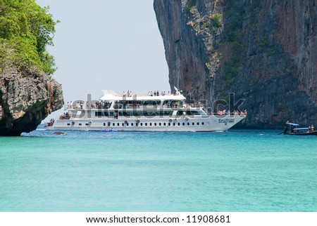 cruise ship at Phi Phi islands, Thailand - stock photo