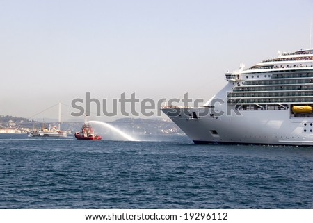 Cruise ship close to Istanbul harbor