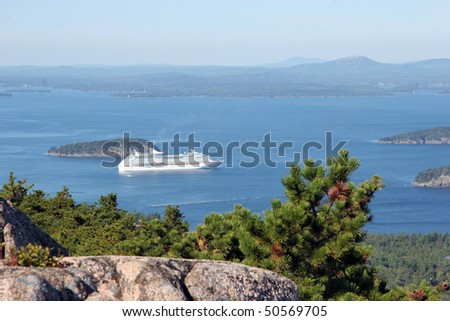 Cruise Ship coming into Bar Harbor, ME - view from Cadillac Mountain - stock photo