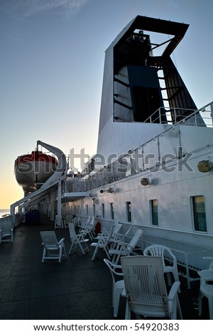 Cruise ship deck in sunset light