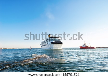 Cruise ship departs port in Thessaloniki,Greece - stock photo