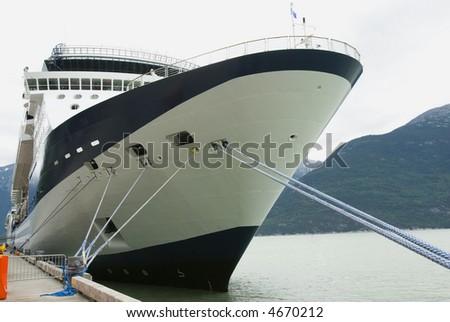 Cruise ship detail in Alaska harbor - stock photo