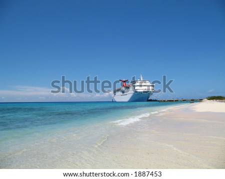 cruise ship docked at Grand Turk, British West Indies - stock photo