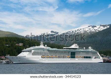 Cruise ship docked at harbor at Ketchikan, Alaska - stock photo