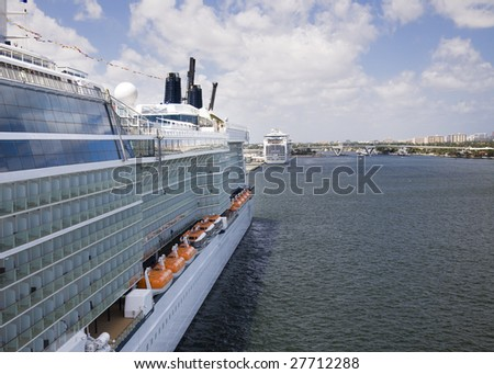 Cruise ship docked in Ft. Lauderdale - stock photo