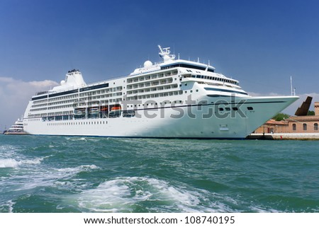 Cruise ship docked in Venice, Italy - stock photo