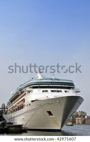 Cruise ship docking in Sydney Harbor - stock photo
