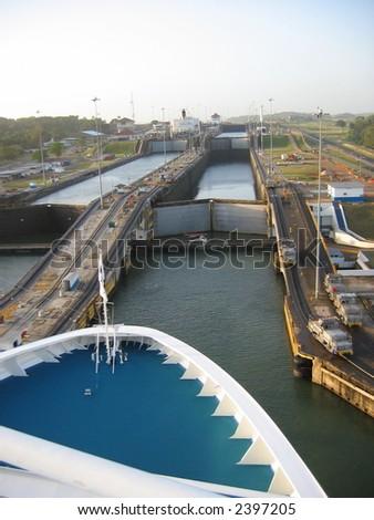 Cruise ship entering the Panama Canal - stock photo