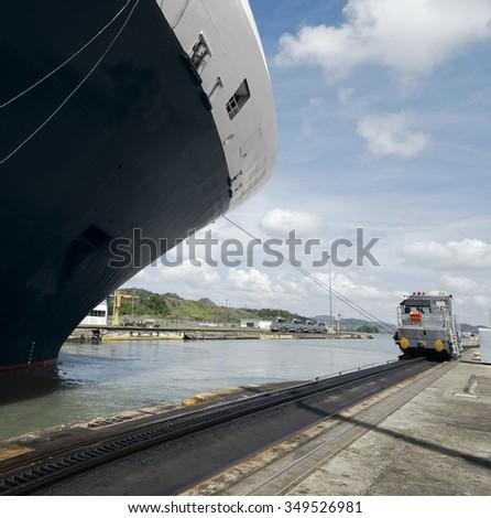 Cruise ship exiting Pedro Miguel Locks, Panama Canal  - stock photo