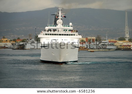 Cruise ship front view - stock photo