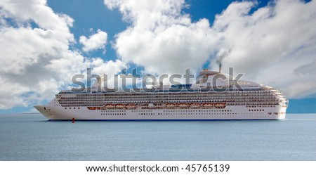 Cruise ship going through the waters of the Panama Canal - stock photo