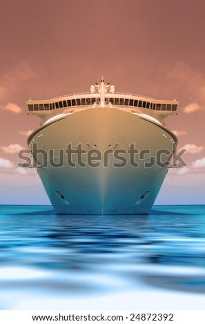 cruise ship in a caribbean ocean - stock photo