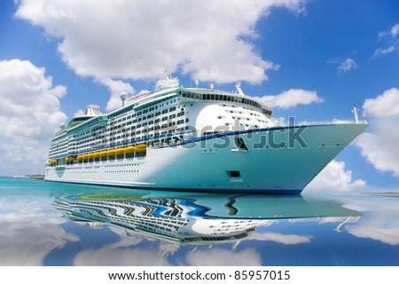 cruise ship in a caribbean sea - stock photo