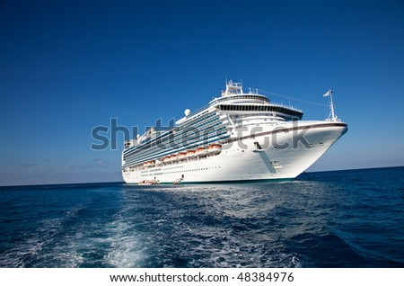 Cruise Ship in Caribbean Sea - stock photo
