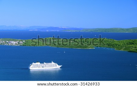 cruise ship in Croatia - stock photo