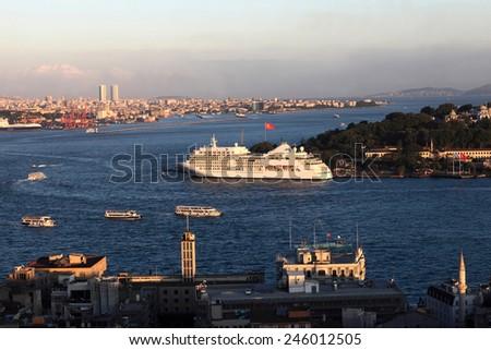 Cruise ship in Golden Horn, Istanbul, Turkey - stock photo