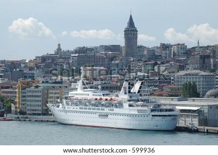 Cruise ship in Istanbul - stock photo