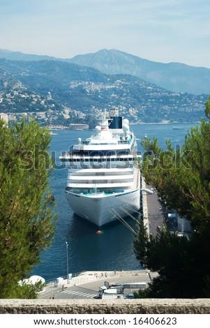 cruise ship in Monte-Carlo port - stock photo
