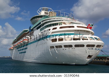 Cruise ship in port - stock photo