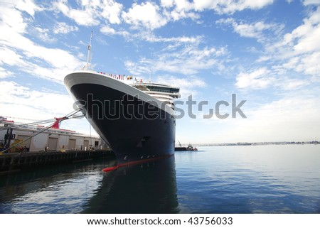 Cruise ship in San Diego CA. (wide angle) - stock photo