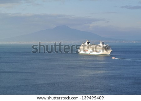 Cruise ship in Sorrento gulf with Vesuvio background