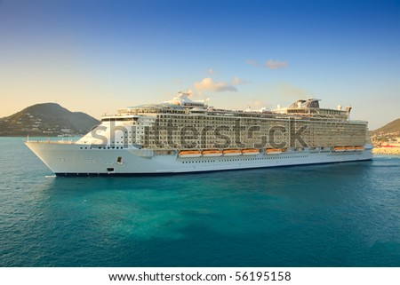 Cruise Ship in the Caribbean Sea - stock photo