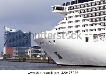 Cruise ship in the harbor of Hamburg, Germany - stock photo